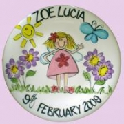 Handpainted Plate - Girl in the Garden